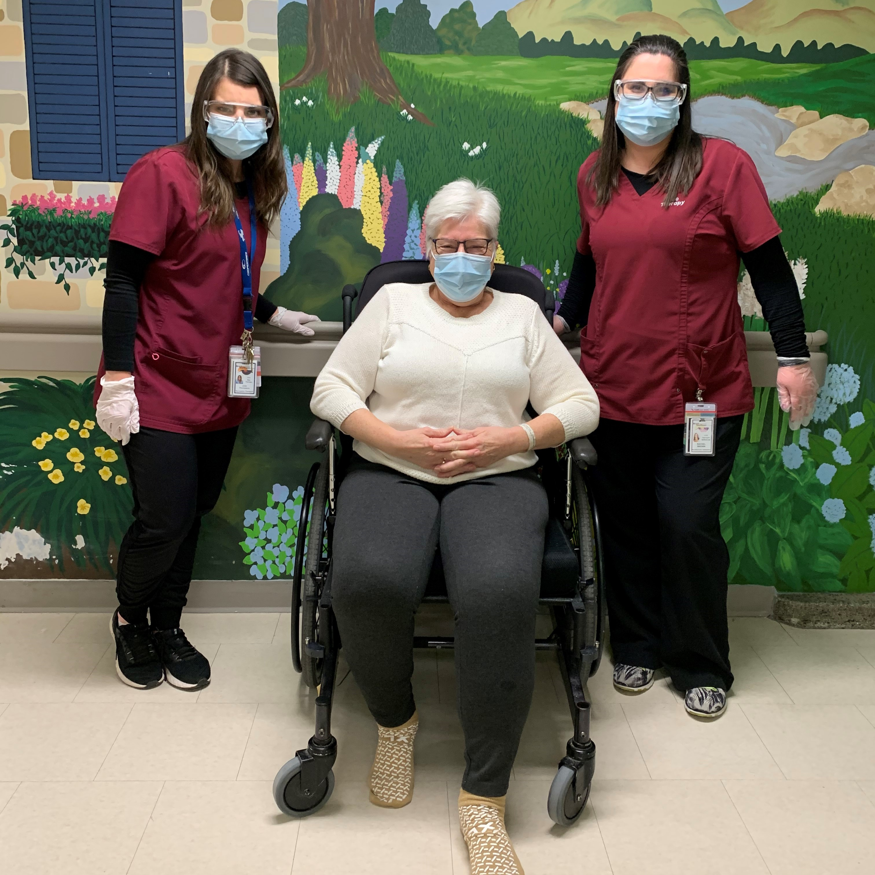 The DOVE Program recreational therapists, Julie and Rachel. with patient Mary Kaus